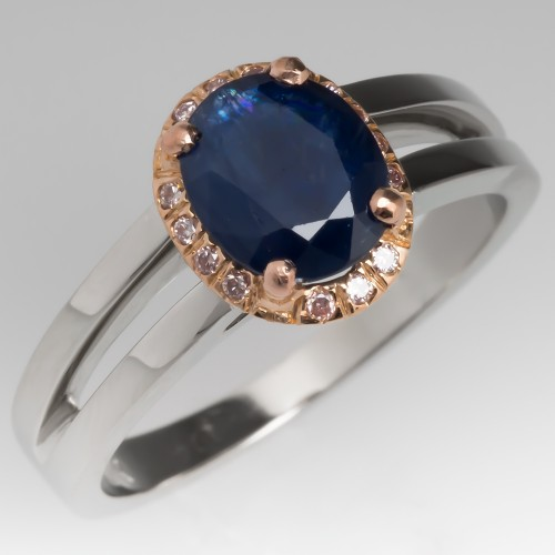 Natural Dark Blue Sapphire & Light Pink Diamond Halo Ring 14K Gold