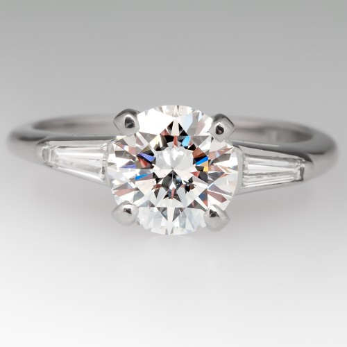1.13 E/SI1 Round Brilliant Diamond Vintage Engagement Ring
