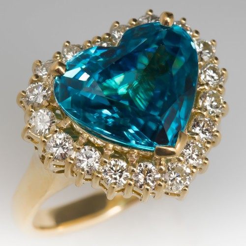 8 Carat Heart Shaped Blue Zircon Diamond Halo 18K Ring
