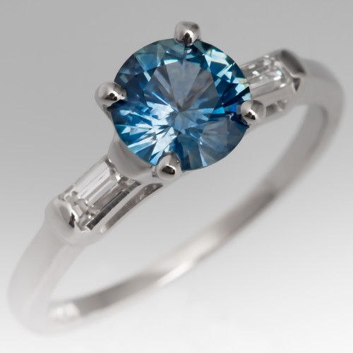 Icy Blue Montana Sapphire Engagement Ring with Baguette Diamonds