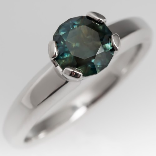 Blue Green Sapphire Solitaire Ring Judith Conway Platinum Mount