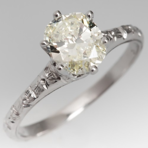Vintage Cushion Diamond 6-Prong Solitaire Engagement Ring 14K