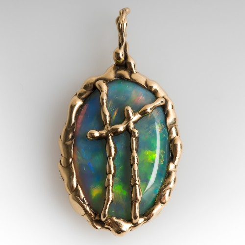 Custom Crystal Opal Pendant 14K Yellow Gold Organic Motif