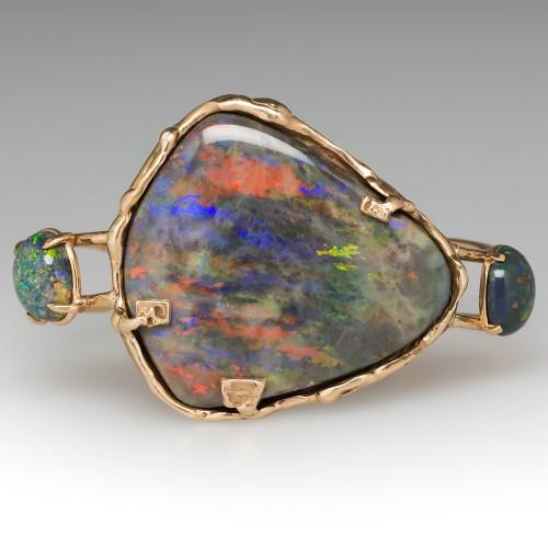 Custom Boulder and Black Opal Cuff Bracelet 14K Yellow Gold