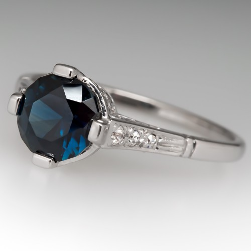 Deep Rich Blue Green Sapphire Engagement Ring 1950's Mount
