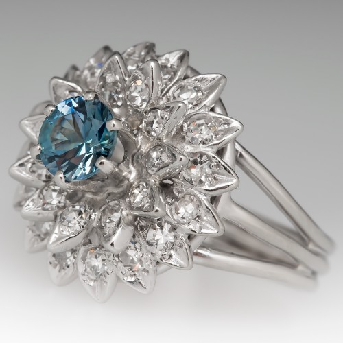 Montana Sapphire Starburst Diamond Ring 14K White Gold