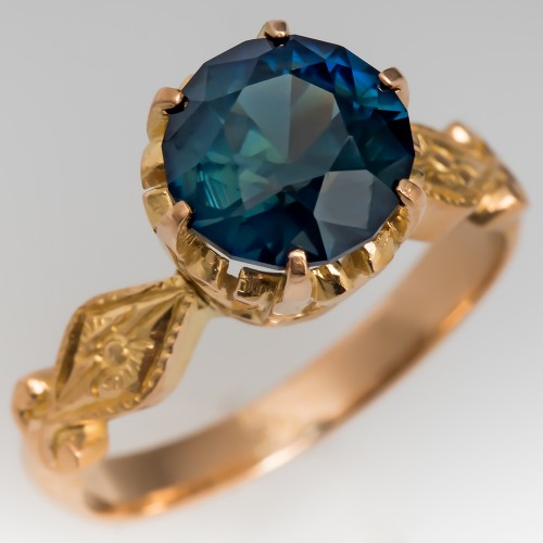 Blue Green Sapphire Solitaire Crown Engagement Ring 22K Gold