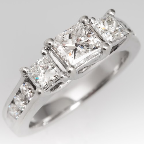 Three Stone Princess Cut Diamond Engagement Ring 14K