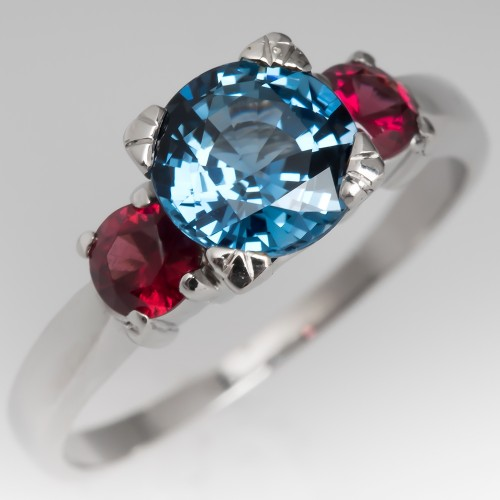 Icy Clear Blue Sapphire & Ruby Three Stone Ring Platinum