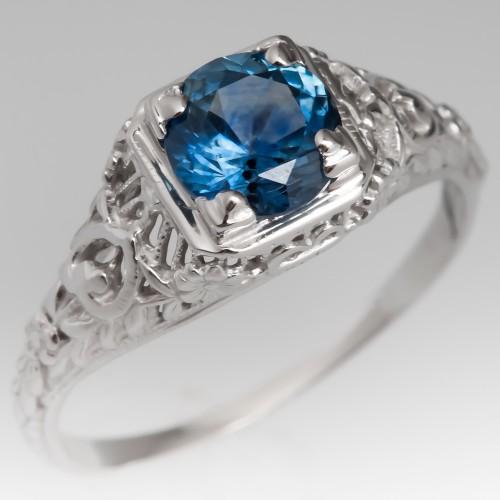 Montana Sapphire Filigree Engagement Ring Vintage Mounting