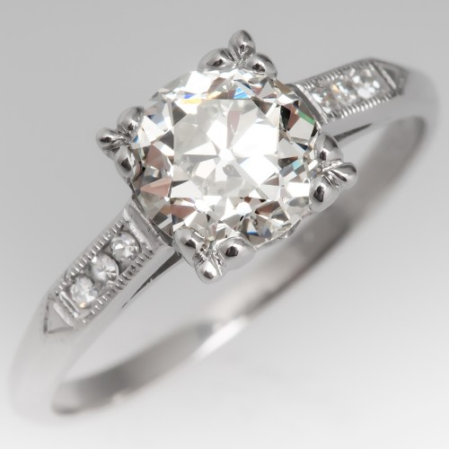 1930's Art Deco Engagement Ring 1 Carat Old Euro Diamond Platinum