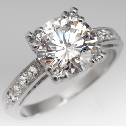 GIA 2 Carat Diamond Vintage Engagement Ring E/SI1