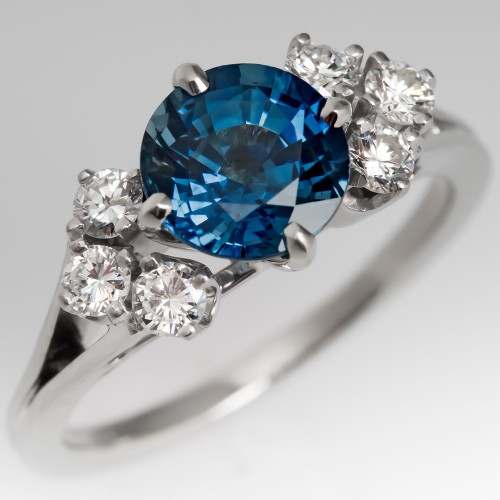 1960's Light Blue Sapphire & Diamond Ring 14K
