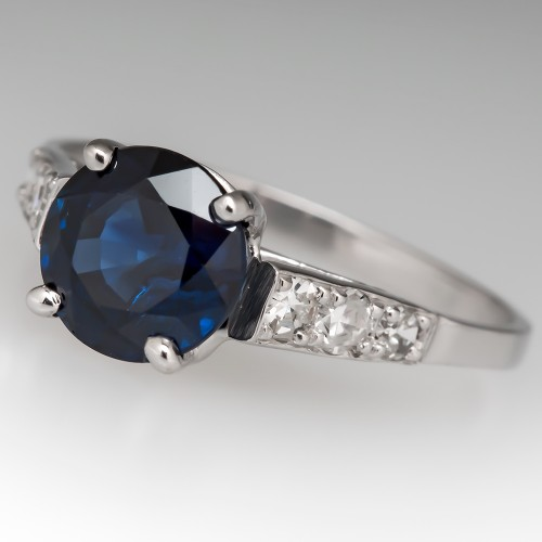 Vintage 2.3 Carat Rich Blue Sapphire & Diamond Engagement Ring