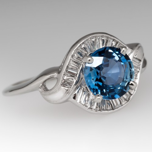 Retro Vintage Icy Blue Sapphire & Diamond Ring 14K