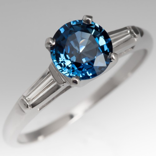 Classic Sapphire Engagement Ring with Tapered Baguette Diamonds Platinum