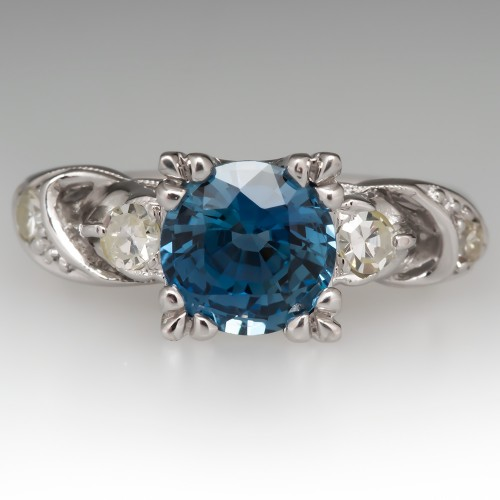 Vintage Icy Blue No Heat Sapphire Engagement Ring Platinum