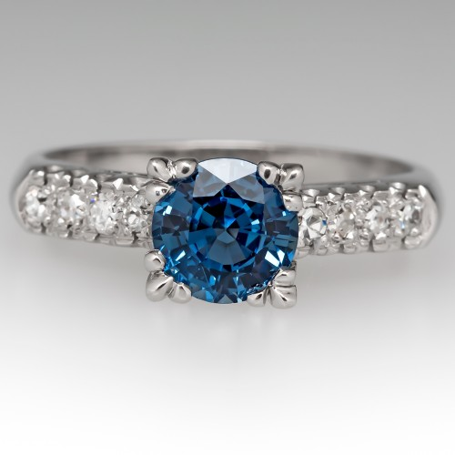 Icy Blue Sapphire Engagement Ring Vintage Platinum Mount