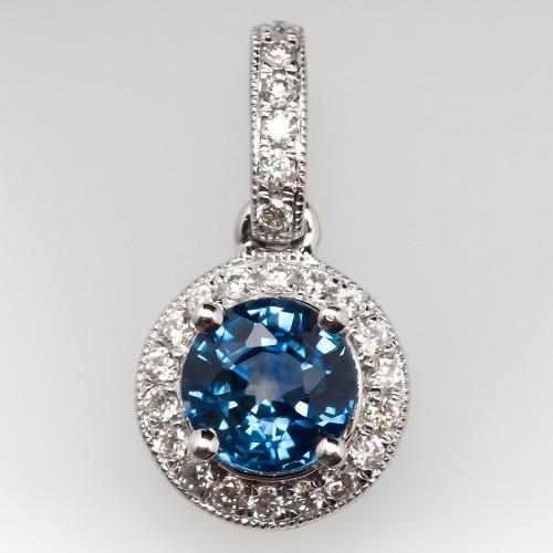 Montana Sapphire & Diamond Pendant 14K Gold