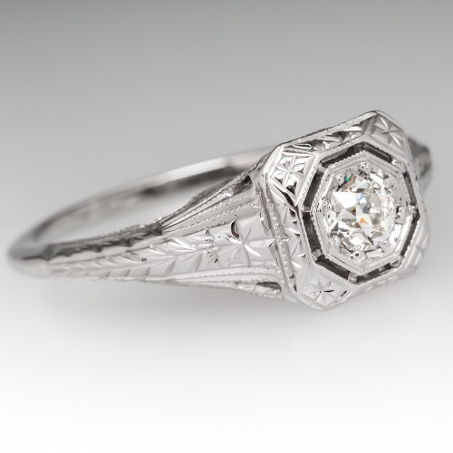 Antique Filigree Diamond Engagement Ring 18K Gold