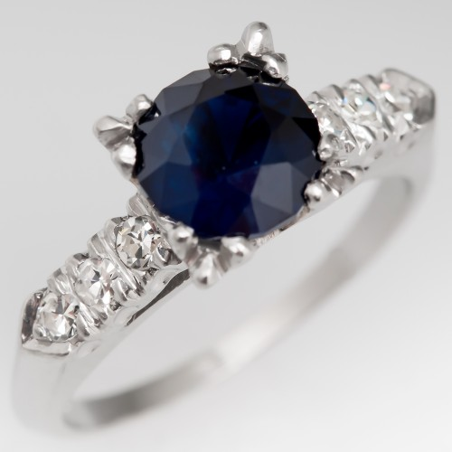 Dark Blue Sapphire Ring Vintage Platinum Diamond Mounting