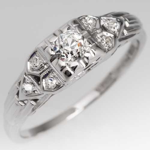1940's Engagement Ring Old Mine Cut Diamond Detailed 18K White Gold