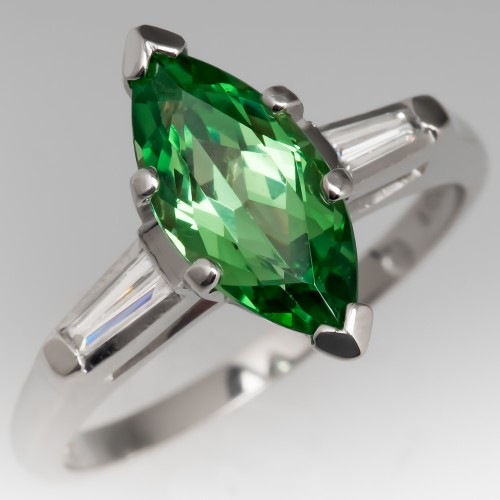 Marquise Tsavorite Garnet Ring w/ Tapered Baguette Diamonds Platinum