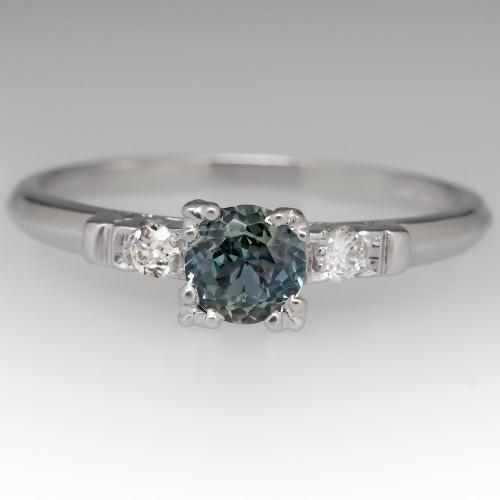 1/2 Carat Montana Sapphire Engagement Ring Vintage Platinum Mount