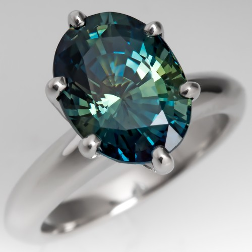 Striking 4+ Carat No Heat Blue Green Sapphire Ring Platinum