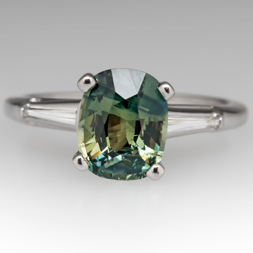 No Heat Blue Green Sapphire Engagement Ring 1960's Platinum Setting