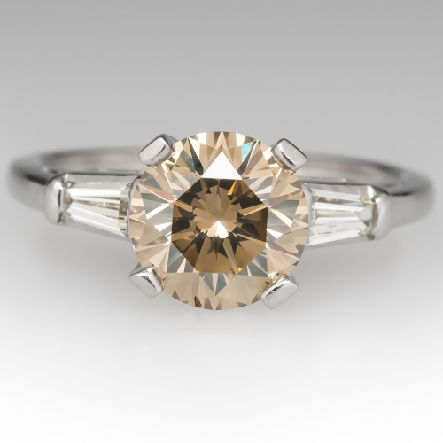 Champagne Diamond Engagement Ring Tapered Baguettes Platinum