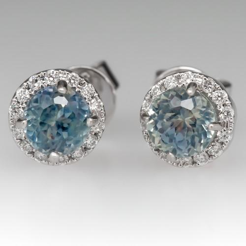 Pastel Blue Green Montana Sapphire & Diamond Stud Earrings