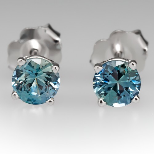 1.05CTW Blue Green Montana Sapphire Stud Earrings 14K White Gold
