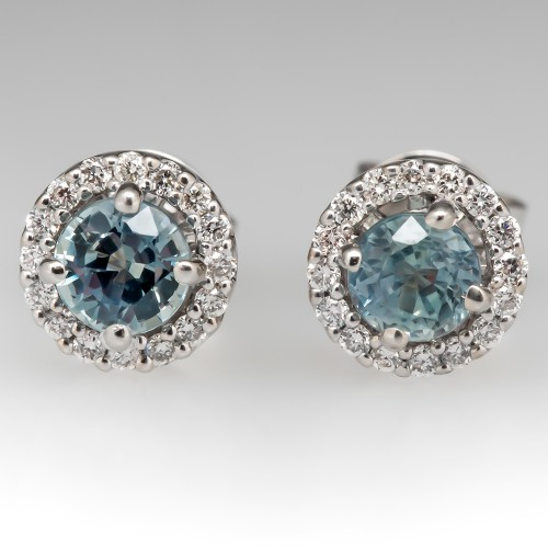 Icy Blue Montana Sapphire & Diamond Stud Earrings 14K White Gold