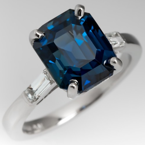 5 Carat Emerald Cut Teal Sapphire Engagement Ring Natural No Heat