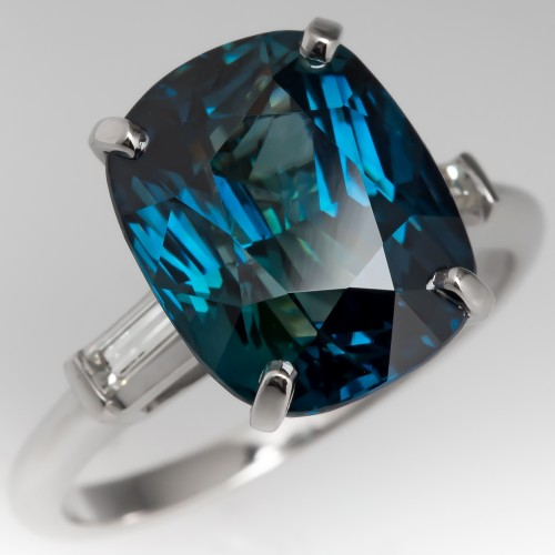 Exquisite 8 Carat Blue Green Sapphire & Diamond Platinum Ring