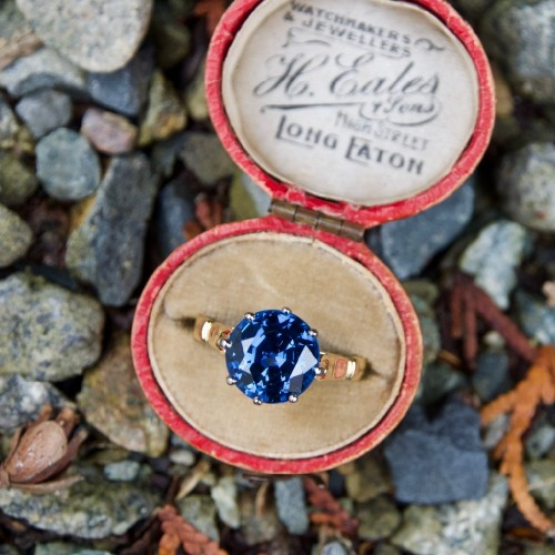 5.7 Carat Rich Blue Sapphire Crown Engagement Ring