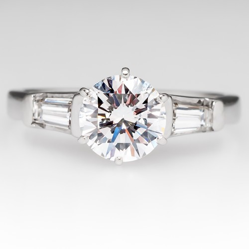 Vintage Round Brilliant Diamond Ring w/ Tapered Baguettes
