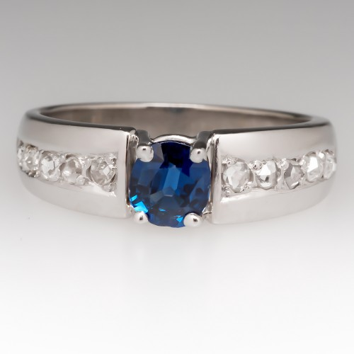 Unique .67 Carat Blue Sapphire & Rose Cut Diamond Ring 14K