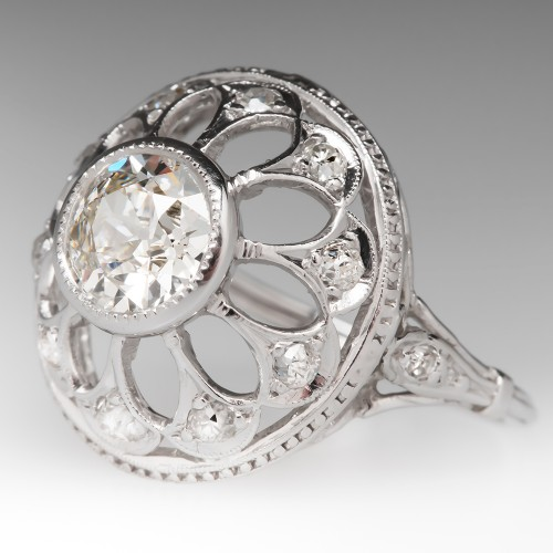 Vintage .98 Carat G/VVS2 Old Euro Diamond Snowflake Ring
