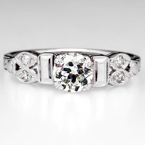 Vintage Old European Cut Diamond Engagement Ring 18K White Gold 1950's