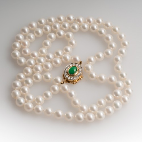 Vintage Pearl Necklace w/ Jadeite & Diamond Clasp Opera Length 36""