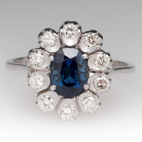 1.25 Carat Blue Sapphire & Diamond Halo Ring 14K