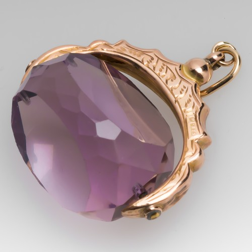 Late Victorian Era Amethyst Fob Pendant Chester England 1915