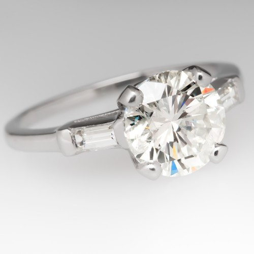 2 Carat Diamond Timeless Vintage Engagement Ring Platinum