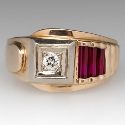 Mens Vintage Retro Diamond & Ruby Ring 14K Yellow Gold
