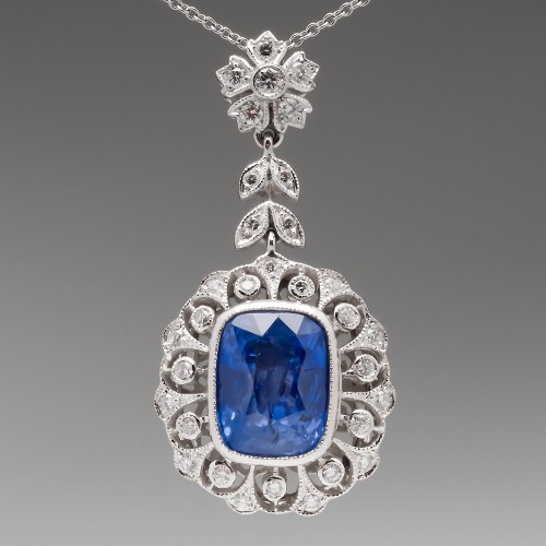 6.6 Carat Light Blue Sapphire & Diamond Pendant Necklace 18K