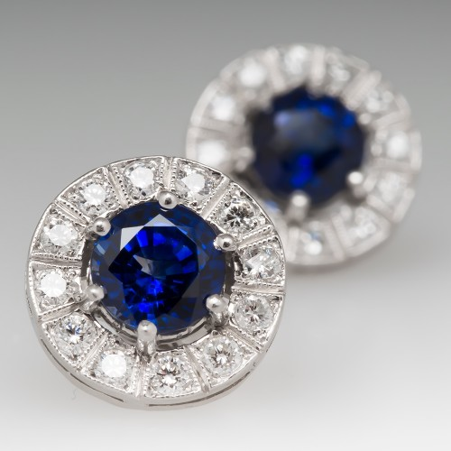 Rich Blue Shire Diamond Halo Stud Earrings Platinum