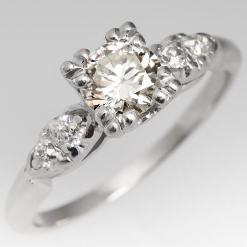Beautiful 1930's Engagement Ring 14K Gold & Platinum w/ Brilliant Cut Diamond
