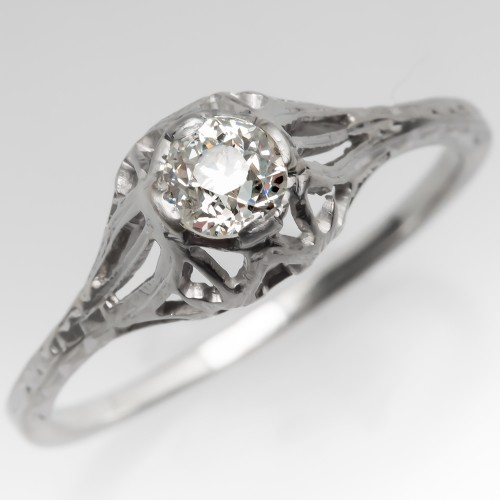 Late Deco Old Euro Diamond Filigree Engagement Ring 18K